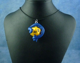 Blue and Yellow Sanity Check Necklace - Tentacle Wrapped D20 Pendant