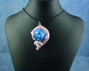 Lavender and Blue Sanity Check Necklace - Tentacle Wrapped D20 Pendant
