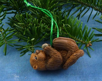 Xmas Sea Otter Ornament , Handmade Christmas Decoration