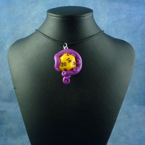 Violet and Yellow Sanity Check Necklace - Tentacle Wrapped D20 Pendant