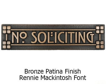 Ready to Ship Stickley Craftsman Mini Lines and Squares No Soliciting in Bronze Patina 8x2 inches