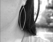 Large silver earrings, dramatic minimalist sterling silver earrings.