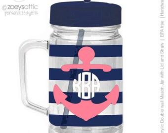 anchor and monogram mason jar tumbler navy striped personalized acrylic double wall tumbler - BPA free