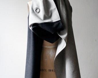 009 gray wool scarf grommet text print