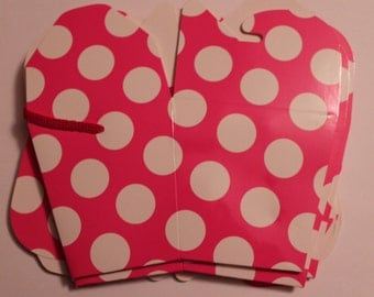 Polka dots Favor Boxes -6 boxes in Pink with white polka dots