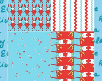 Ric Rac Rabbit 5 Piece Fat Quarter Set by Marissa and Creative Thursday