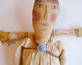 Doll Vintage Doll Art Doll Spritual Handpainted Face Doll Handmade Doll