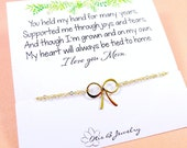 Gifts for Mom, Dainty bow bracelet, Mother of the bride gift, mother of the groom gift, gold bow bracelet on message card, tying the knot