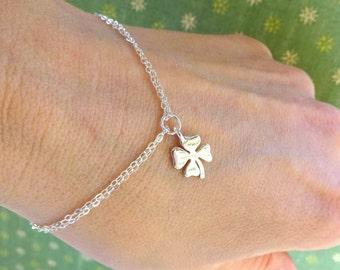 Lucky charm bracelet, Shamrock, four leaf clover bracelet, Good luck, Sterling silver, Bridesmaid gifts, Friendship bracelet, otis b jewelry
