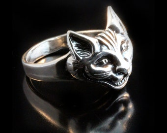 Cat Ring Silver - Cheshire Cat Ring - Cheshire Cat Jewelry - Cat Jewelry Silver Cat - Kitty Ring Kitty Jewelry - Alice in Wonderland Jewelry