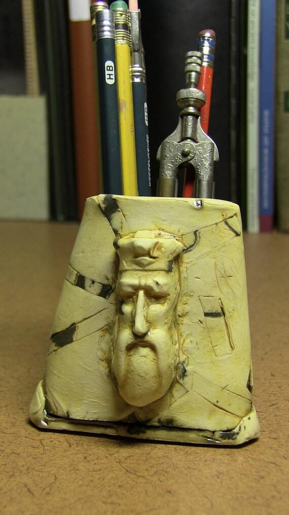 Pencil Holder:  The Old King's Pencils... desk items, original handmade, ceramic sculpture, figurative, clay figurine, desk display, office