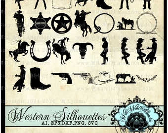 Cowboy Clipart, Rodeo and Western Clipart, Overlays, Silhouettes, Illustrations Total 28, Clip Art, ai,svg,eps,dfx,png