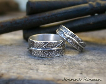 Meet Me in the Forest...Matching Set of Sage Leaf Bands...Wedding Rings, Engagement Rings, Promise Rings