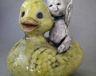 Child Figurine, Child Sculpture - Boy and His Duck Ceramic sculpture