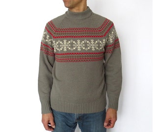 Vintage 60s Sweater / Men's Sweater / Snowflake Sweater / S M