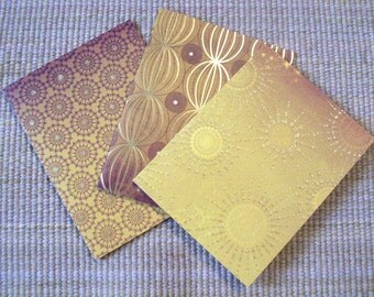 Ray of Light Blank Notecards Set with Handstamped Envelopes