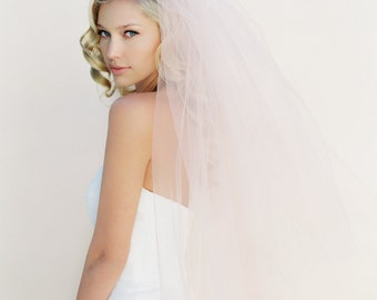 Wedding Veil, Bridal Veil, Cathedral Veil, Fingertip Bridal Veil, Tulle Wedding Veil, Illusion Veil, Blush Veil, Chapel Length Style 0802