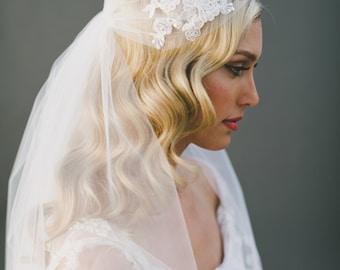 Lace Wedding Veil, Juliet Cap Veil, Lace Bridal Veil, Corded Lace, Kate Moss Cap Veil, Ivory Veil, Cathedral Veil, 1920's Veil, 1550