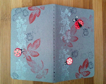 Moleskine Notebook, Small Moleskine Journal, Small Writing Journal, Gift for Writer, Decorated Journal, Young Writer, Ladybugs, Grey, Red