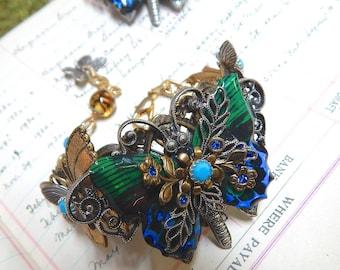 Butterfly Bracelet with Capri Blue Swarovski Crystal Stones
