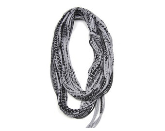 Infinity Scarf, Gray Scarf, Boho Scarf, Tribal Scarf, Burning Man, Trendy Accessories, Cool Scarf, Boho Jewelry, Bohemian Clothing
