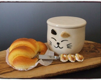 Fresh Tasting Butter in your Lovely Calico Cat Butter Crock by misunrie