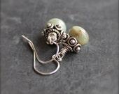 Mint Green Stone Dangle Drop Earrings Small Tan Aquaterra Jasper Sterling Silver Jewelry