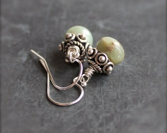 Mint Green Stone Dangle Drop Earrings Small Tan Aquaterra Jasper Sterling Silver Jewelry