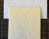 Handmade dog cat animal embossed paw print note cards 5 pack in white or cream or gray includes envelopes