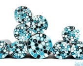 Sky Blue , Powder Blue , Light blue , Black & White polymer clay round cane , raw and unbaked millefiori Retro Dots Fimo cane by Ronit Golan