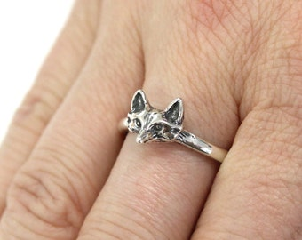 Fox Ring Silver Fox Head Ring Solid Sterling Fox Face Ring Silver Fox Jewelry 431