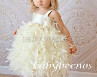Flower Girl Dress Feather Flower Girl Dress - SWAN - Girls dress - Made to Order - Ivory flower girl dress, white dress, feather dress