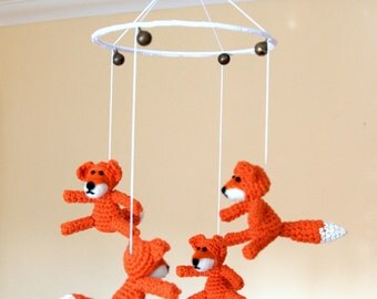 Baby mobile crib mobile nursery mobile woodland crochet fox mobile fox animal orange child bedroom decoration baby shower gift made to order