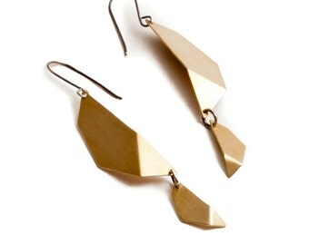 Iris Earrings - Brass Geometric Petals with Sterling Silver, Structural, Faceted
