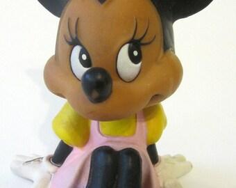 Minnie Mouse Rubber Squeak Toy Vintage 1970s Soft Bath Vinyl Rare