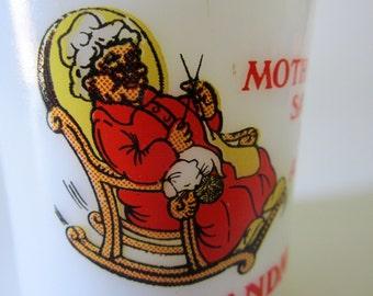 Mother Mom Ask Grandma Coffee Mug White Milk Glass Cup Vintage Gift