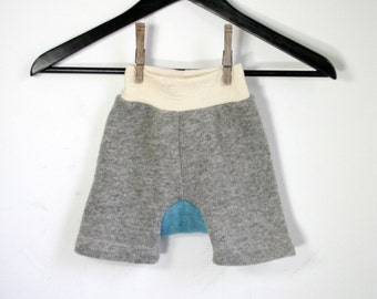 baggy shorts - wool diaper cover shorts - rebourne cloth diaper cover - wool shorties MEDIUM 6 to 18 months -  gray and blue