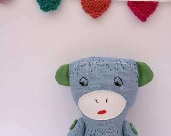 Plush Monkey Stuffed Toy Animal Doll Linen Softie Blue Green Pink Ecofriendly