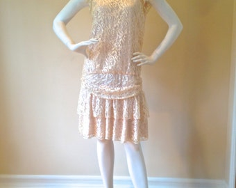 PRETTY IN PINK - Vintage 1980's Pastel Pink Lace Party Dress