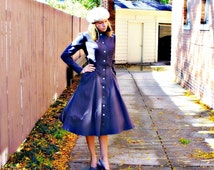 Miss Margaret leaves for her European Tour  ~ Fit and Flare cotton canvas long fitted topcoat ~ redingote