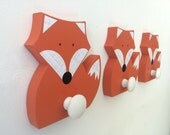 Fox Wall Hook, Orange Fox, Woodland Kids Decor,  Woodland Nursery,  Wooden Fox Hanger, Kids Decor, Eco-friendly
