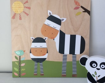 Zebra Love Collage, Kids Wall Art, Jungle Theme - eco friendly - by Maple Shade Kids