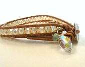 BOGO. Leather wrap bracelet. Faceted Czech glass pearls, natural tan, MOP button crystal. Double, twice wrap, Boho. Small to medium.