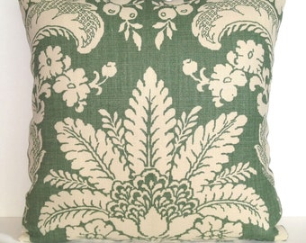 """22"""" x 22"""" Schumacher Square Throw Pillow Damask Floral Celery Green Ivory Linen Decorative Accent French Country Beach Island Leaves English"""