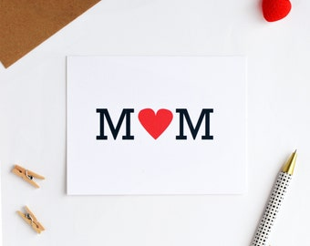 Mothers Day Card, Mother's Day Card, Retro Cards, Mom Card, Heart Mom