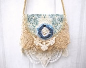 ReServed . . Scattered Blues Gypsy Vagabond Boho carpetbag velvet purse bohemian gypsy rustic romantic tattered rose vintage lace bag