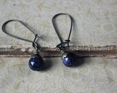 Astralis. Celestial Sparkle Blue Goldstone and Antiqued Brass Drop Earrings.
