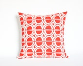 Mid Century Pattern Pillow Screen Printed by Earth Cadets Custom Color Home Decor Red Mint Chartreuse Black White Accent Throw Cushion