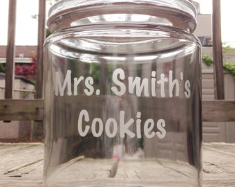Custom Etched Glass Jar - Choose From Two Different Sizes
