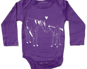 Horse Onesie, Violet Purple Horse Bodysuit, Cute Baby Girl Onesie, Baby Girl Gift, baby clothes, baby girl clothes, baby shower gift, pony